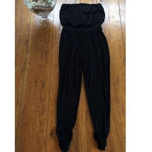 Black jogger jumpsuit romper small tube top